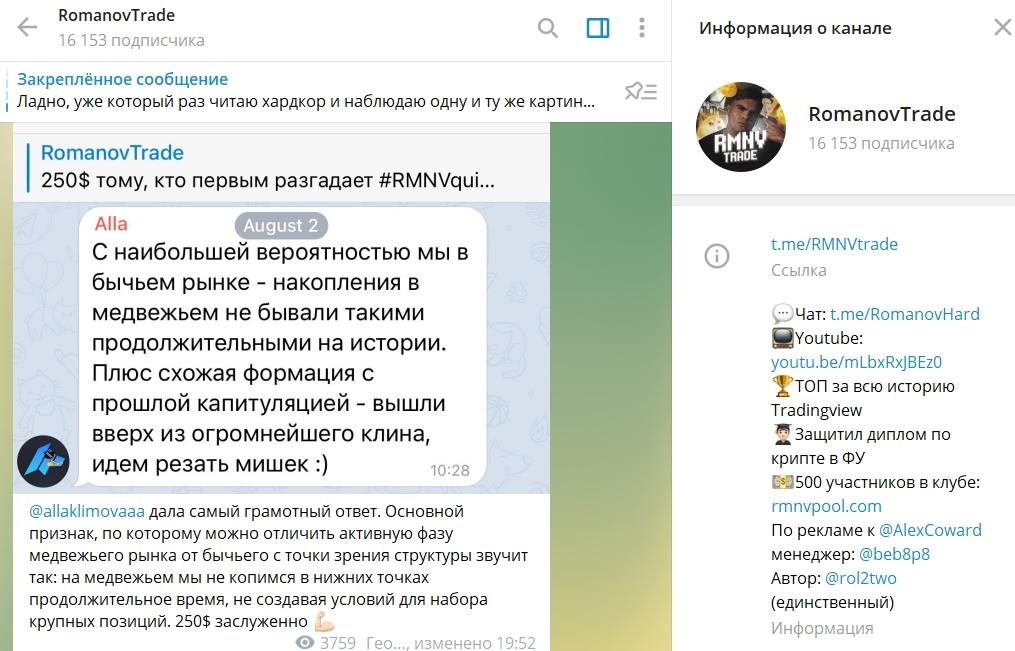 Телеграм-канал Romanov Trade
