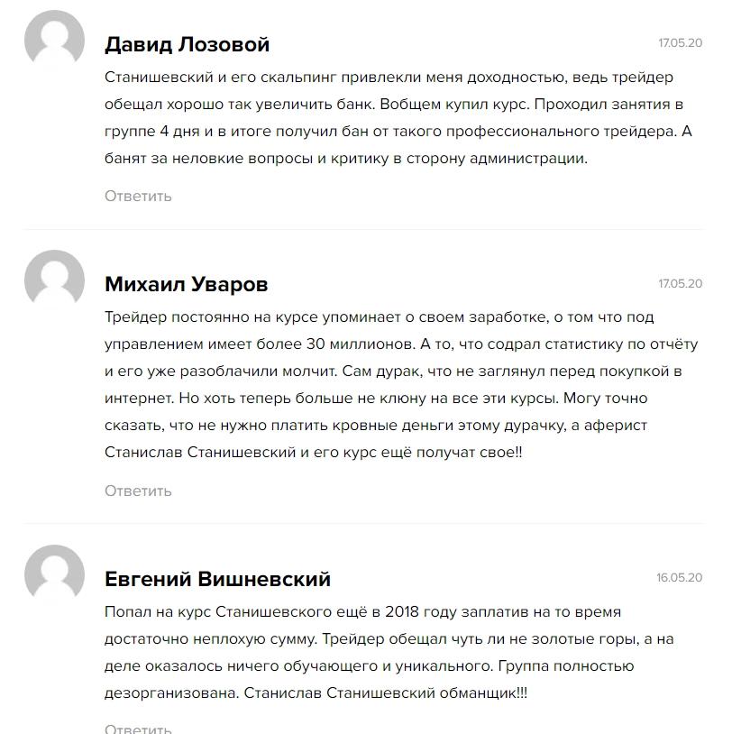 Отзывы клиентов о трейдере Станиславе Станишевском