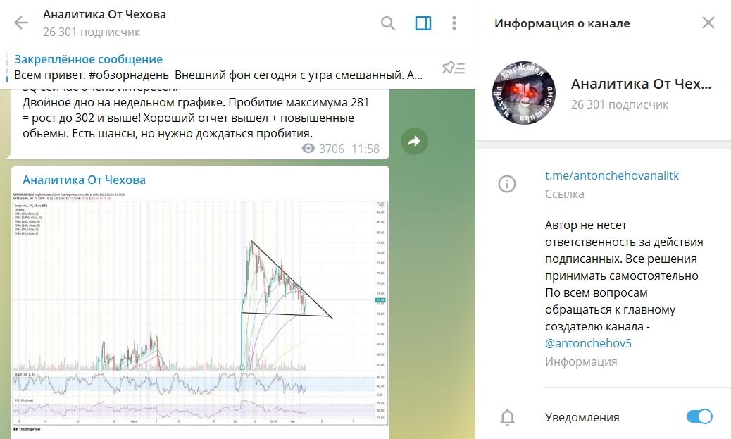 Страница Антона Чехова в Телеграме