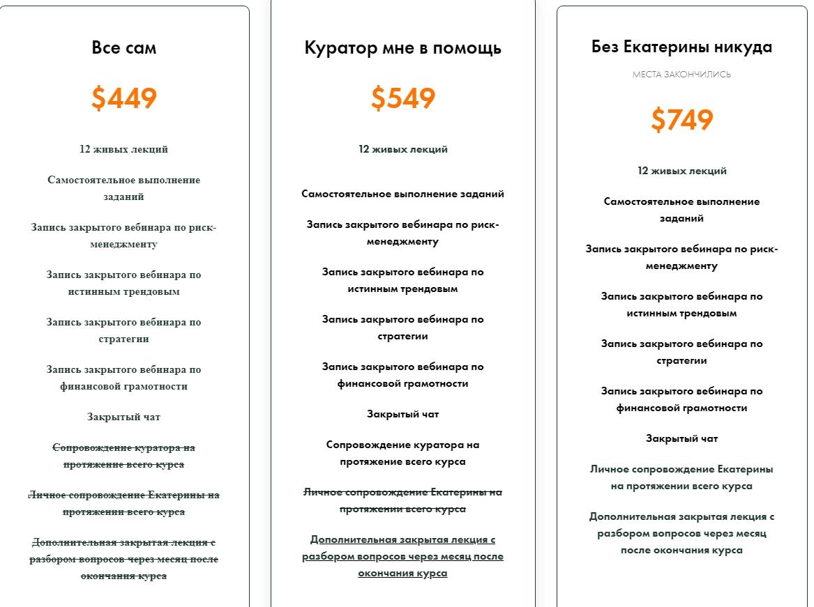 Пакеты услуг от Екатерины Костевич
