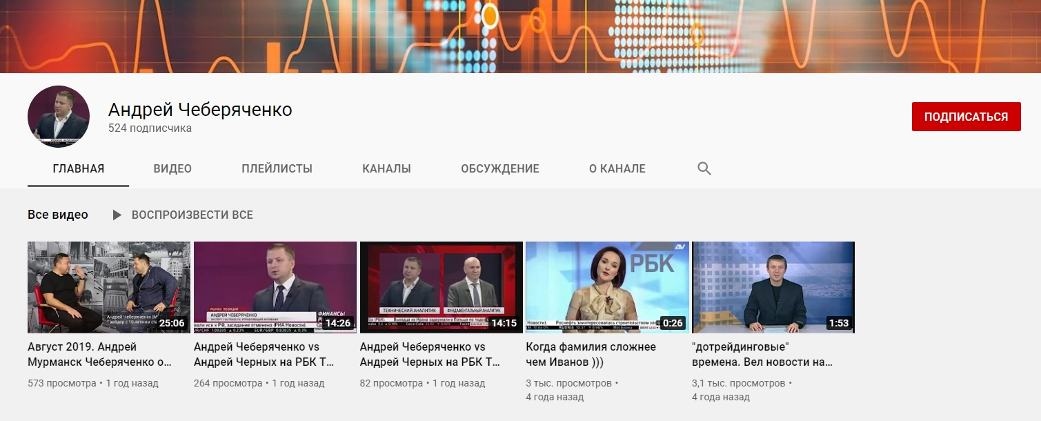Ютуб канал Андрея Чеберяченко