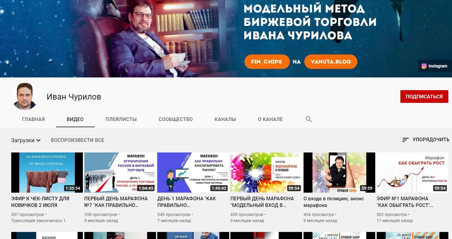 Ютуб канал Ивана Чурилова